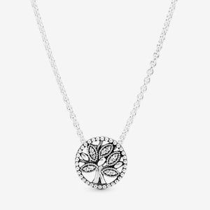 pandora  Sparkling Family Tree Necklace 17.7 inch